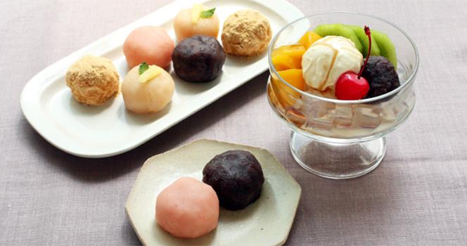 4色ミニおはぎとフルーツあんみつ