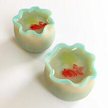 ユイミコに習う かわいい和菓子(金魚鉢と水牡丹)