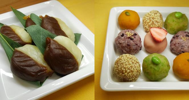 北海道のもち米、あんを使ってべこ餅と変わりぼた餅